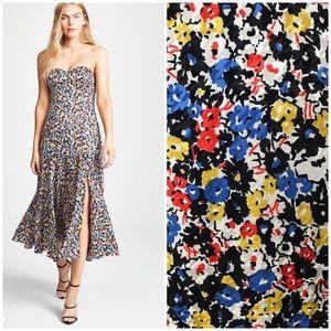 Veronica Beard Annika silk floral strapless dress